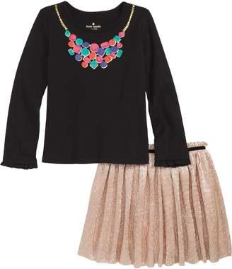 Kate Spade Metallic Knit Skirt Set