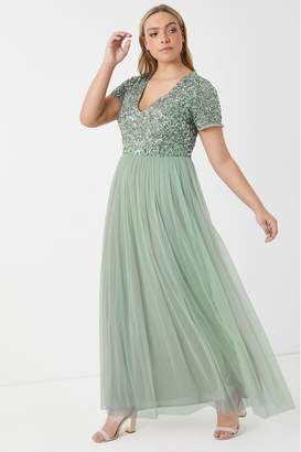 Maya Womens Curve V neck Short Sleeve Sequin Maxi Dress - Green