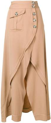 Self-Portrait wrap long skirt