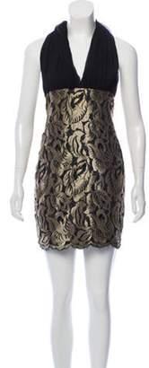 Christian Lacroix Lace-Accented Mini Dress Gold Lace-Accented Mini Dress