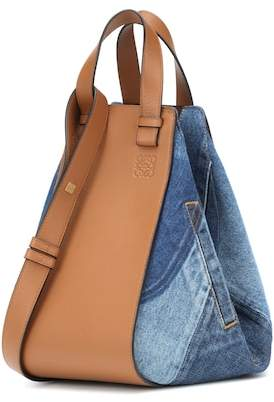 Loewe Hammock Small leather and denim shoulder bag