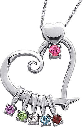 JCPenney FINE JEWELRY Personalized Mom Birthstone Sterling Silver Heart Slider Pendant Necklace