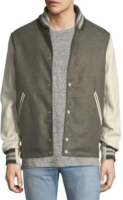 Rag & Bone Men's The Golden Bear Wool Varsity Jacket with Leather Sleeves