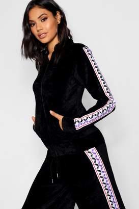 boohoo Velour Tape Trim Oversized Zip Through Jacket