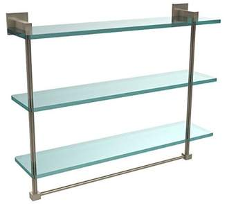 Allied Brass Montero Collection 22 Inch Triple Tiered Glass Shelf with integrated towel bar