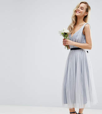 Asos WEDDING Mesh Midi Dress With Ribbon Strapping Detail