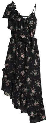 MSGM Asymmetric Ruffled Floral-Print Crepe Midi Dress