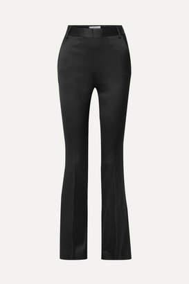 Frame Le Mini Boot Satin-crepe Slim-leg Pants - Black