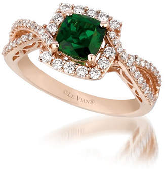 LeVian CORP Grand Sample Sale by Le Vian Pistachio Diopside and Vanilla Diamonds Ring in 14k Strawberry Gold