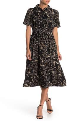 London Times Floral Print Smock Waist Shirt Dress