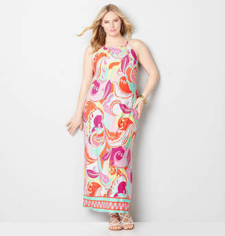 Avenue Abstract Swirl Halter Maxi Dress