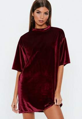 Missguided Burgundy Velvet Oversized T Shirt Dress