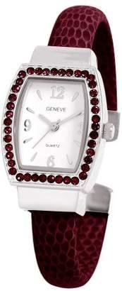 EWatchFactory Women's 0914BG0001 January Birthstone Simulated Leather Bangle Cuff Watch