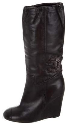 Chanel Leather Mid-Calf Wedge Boots Black Leather Mid-Calf Wedge Boots