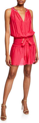 Ramy Brook Fayth Smocked Lace-Up Mini Dress