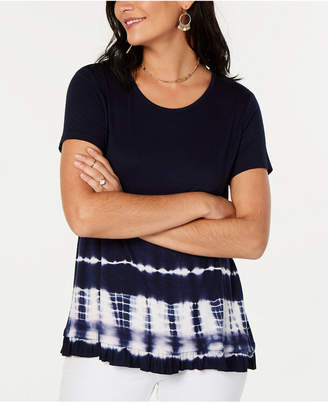 Style&Co. Style & Co Tie-Dyed Ruffle-Hem T-Shirt