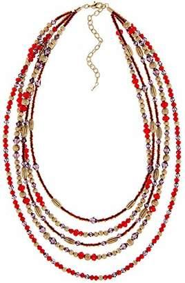 Napier Red Multi Beaded Multirow Necklace