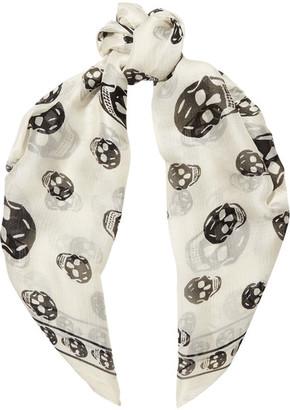 Alexander McQueen - Skull-print Silk-chiffon Scarf - White
