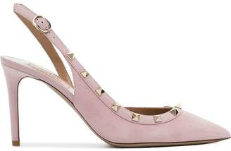 Valentino pale pink rockstud 85 leather slingback pumps