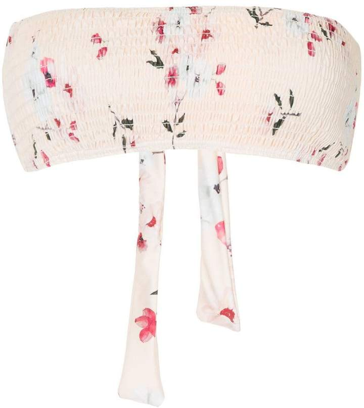 Peony floral bandeau bikini top