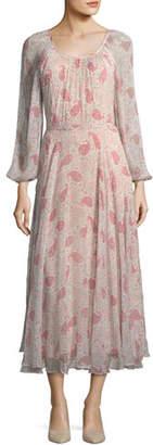 Co Round-Neck Paisley-Print Crinkled Chiffon Midi Dress