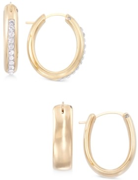 Swarovski Diamond Fascination Signature Gold 2-Pc. Set Crystal & Polished Hoop Earrings in 14k Gold over Resin, Created for Macy's