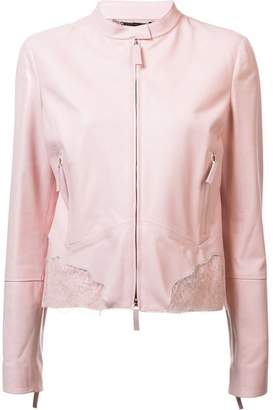 Roberto Cavalli lace insert leather jacket