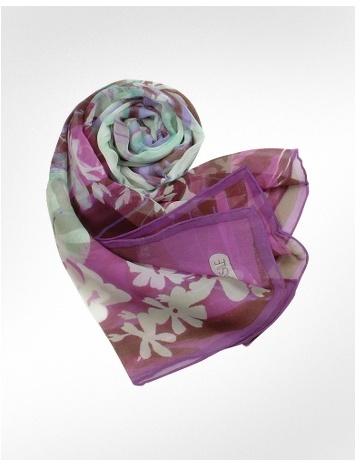 Basile Floral Chiffon Silk Long Scarf