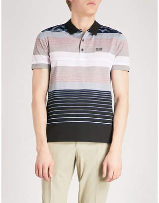 BOSS GREEN Logo-detail striped cotton-blend polo shirt