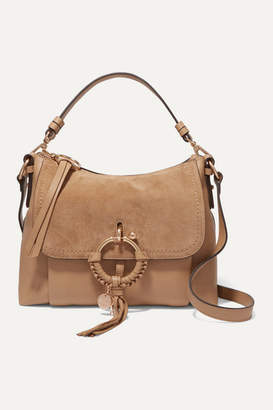 See by Chloe Joan Small Suede And Textured-leather Shoulder Bag - Beige