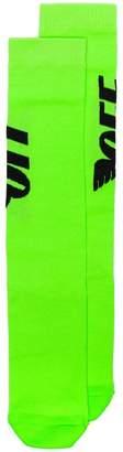 Off-White neon green wings logo socks