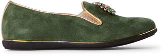 Quis Quis (Kids Girls) Green Embellished Suede Loafers