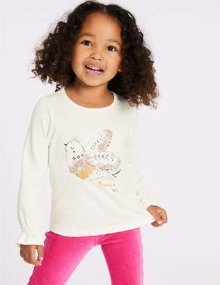 Marks and Spencer Pure Cotton Bird Top (3 Months - 7 Years)