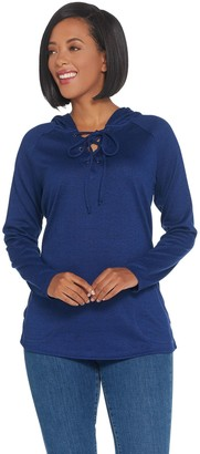 Belle By Kim Gravel Belle by Kim Gravel Hacci Hooded Tie Front Sweatshirt