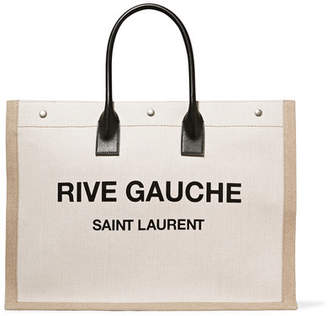 Saint Laurent Shopper Leather-trimmed Printed Canvas Tote - Beige