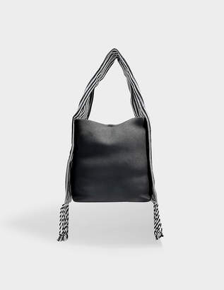 Loewe Scarf Bucket Bag in Black Soft Grained Calf and Cotton