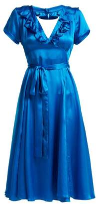 Rhode Resort - Celia Ruffled Hammered Silk Satin Dress - Womens - Blue