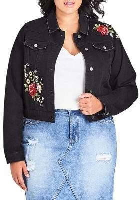 City Chic Plus Embroidered Denim Jacket