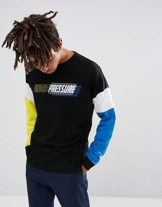 Asos Design Oversized Long Sleeve T-Shirt With Contrast Colour Block Sleeves And Text