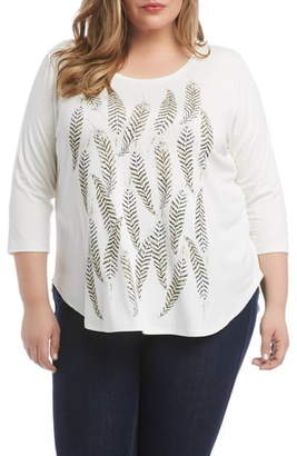 Karen Kane Feather Print Shirttail Tee