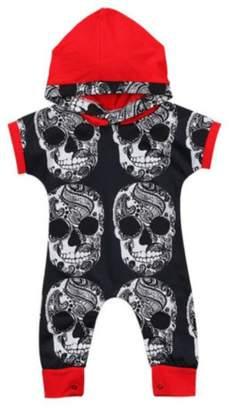 BANGELY Baby Boys Girls Cartoon Skull Bone Print Hooded Romper Jumpsuit Onesies Size