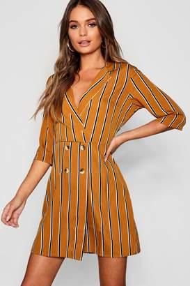 boohoo Tonal Stripe Horn Button Blazer Shirt Dress