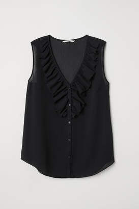 H&M V-neck Blouse with Flounce - Black
