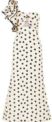 Johanna Ortiz - Valley Of The Kings Ruffled Polka-dot Silk-organza Gown - Ivory