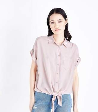 New Look Pale Pink Rolled Sleeve Tie Front Shirt