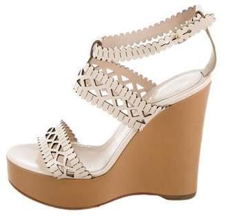 Chloé Leather Lasercut Wedge Sandals