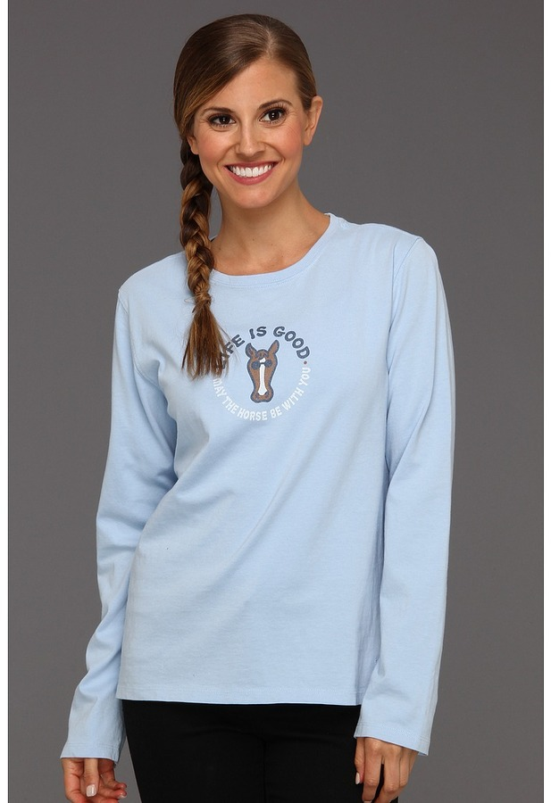 Life is Good May The Horse Crusher LS Tee (Sky) - Apparel
