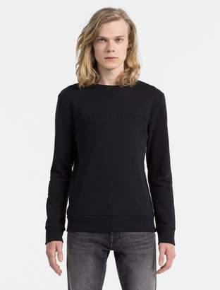 Calvin Klein slim fit logo solid crewneck sweatshirt