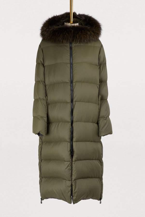 Long puffer coat with fur collar