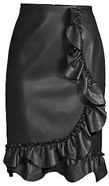 Rebecca Taylor Women's Faux-Leather Ruffle Skirt
